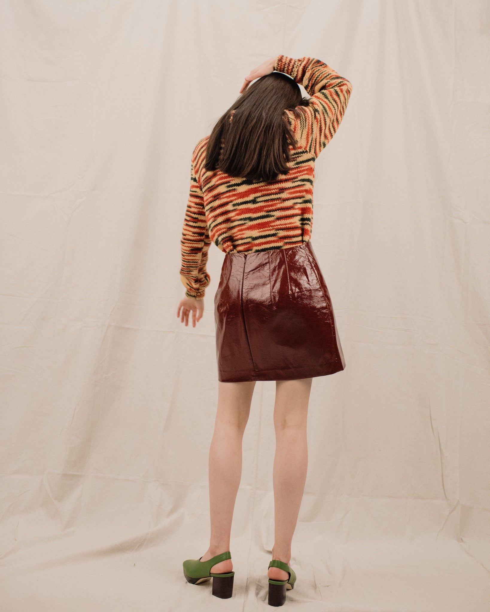 Vintage Burgundy Patent Leather Mini Skirt / S/M - Closed Caption