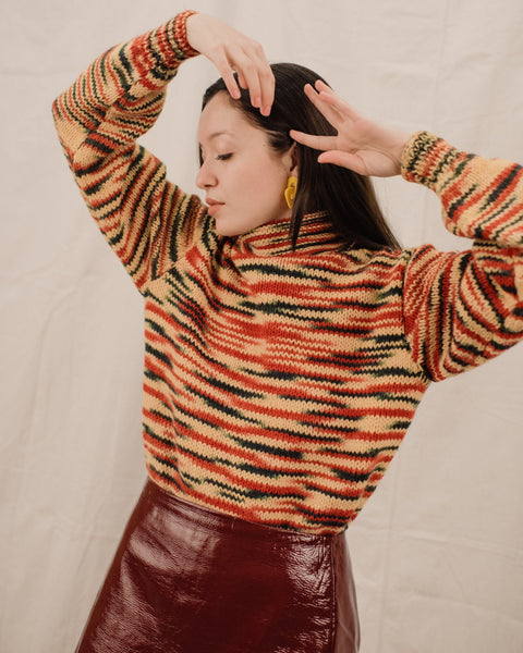 Vintage Colorful Chunky Knit Turtleneck / S