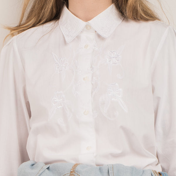 Vintage Stark White Floral Embroidered Blouse / S
