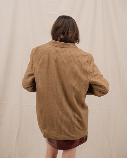 Vintage Gold Tweed Oversized Blazer / S/M