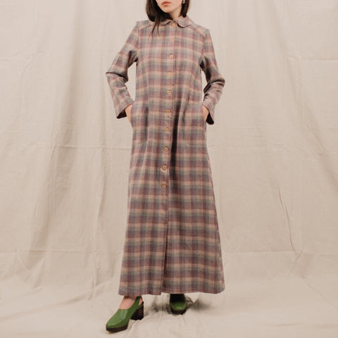 Vintage 70s PENDLETON Pastel Plaid Maxi Dress / S