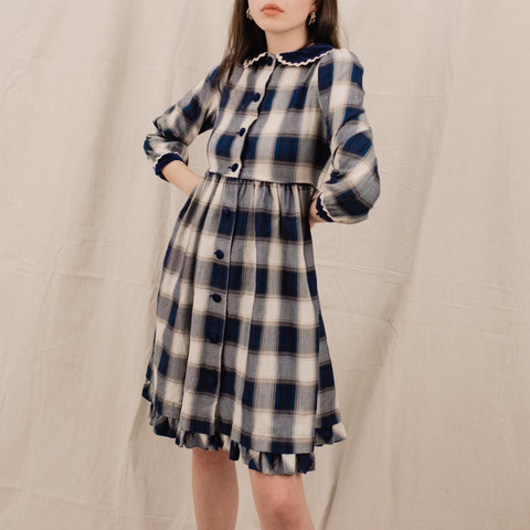 Vintage Navy Plaid Lolita Dress / XS/S