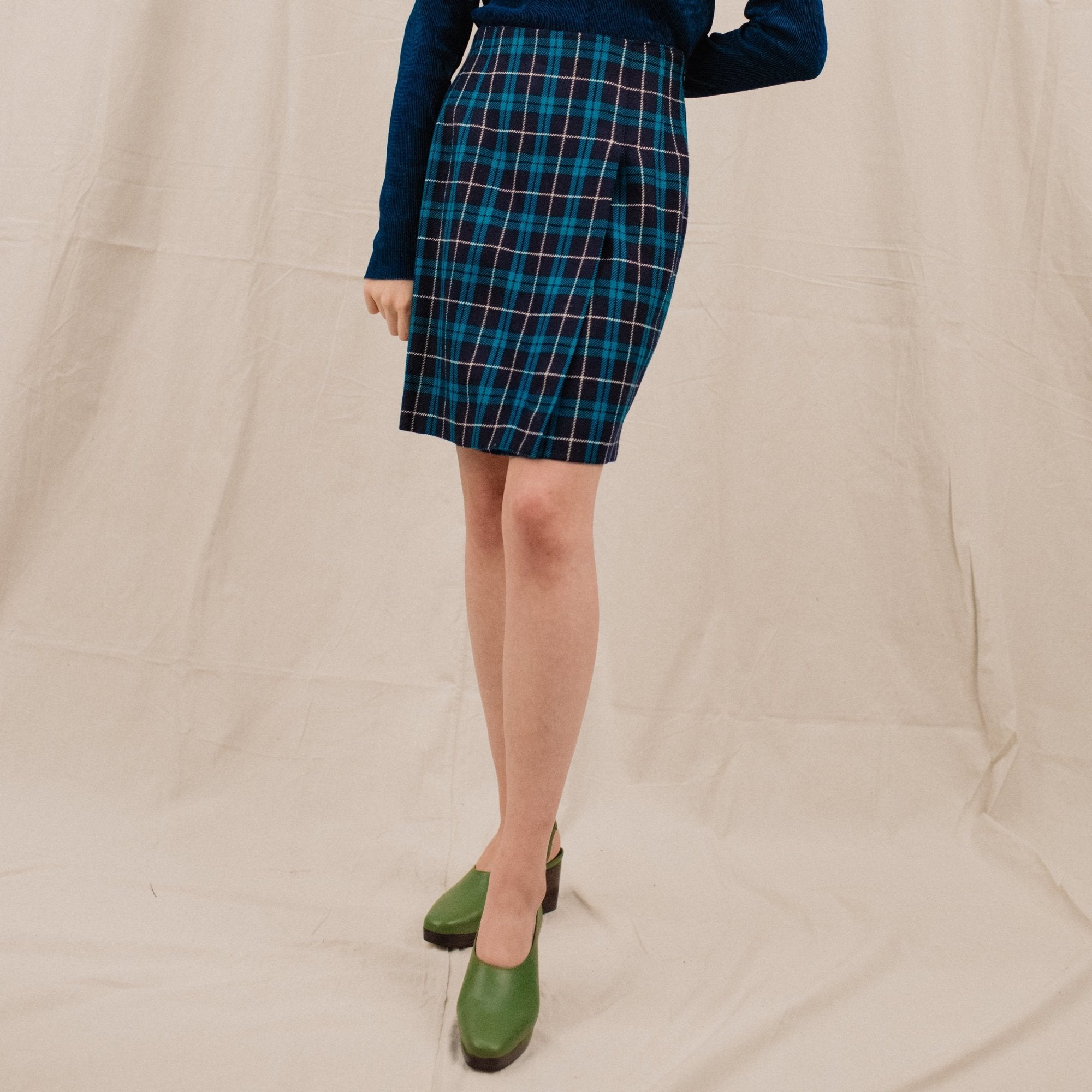Vintage Navy + Teal Plaid Faux Wrap Wool Skirt / S