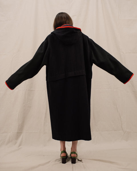 Vintage Oversized Charcoal Coat / S/M