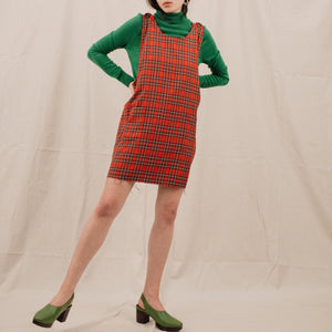 Vintage Oversized Red Plaid Overall Dress / S/M