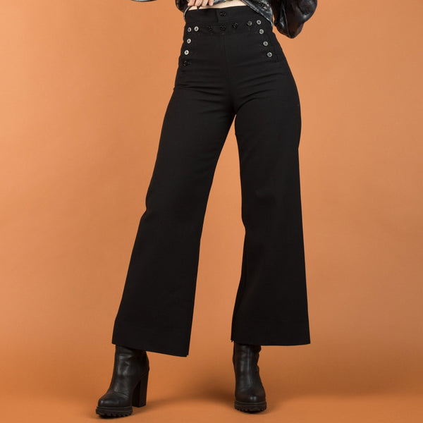 Vintage Black High Rise Flared Sailor Wool Trousers / S