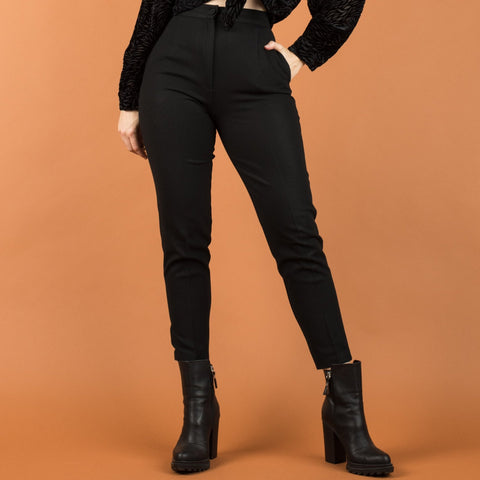 Vintage Black High Rise Cigarette Pant / S