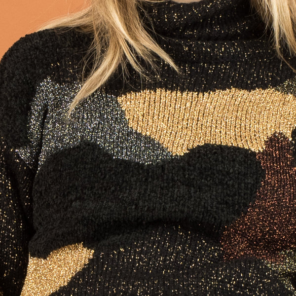 Vintage Abstract Chenille and Metallic Knit Sweater / S