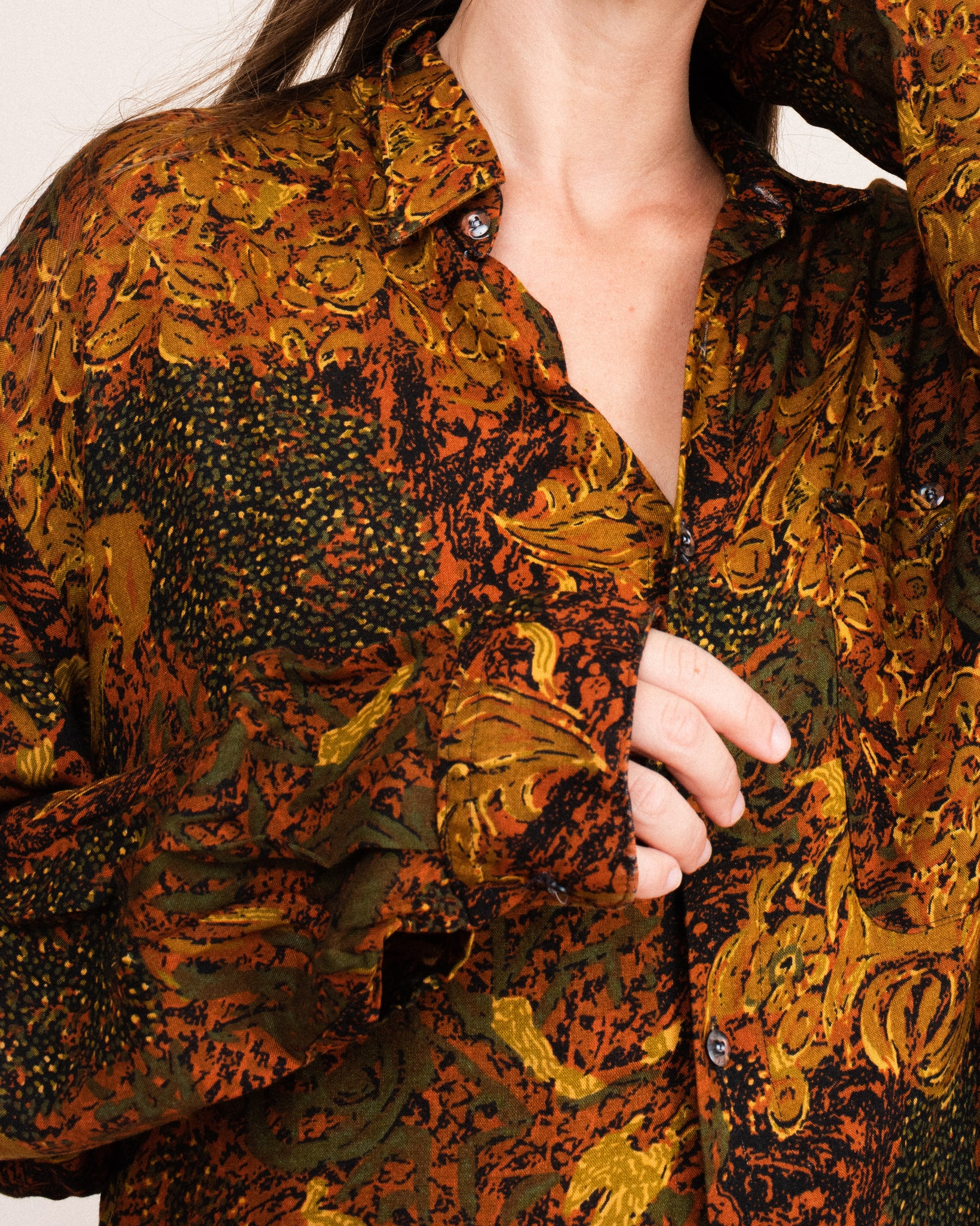 Vintage Oversized Abstract Earth Tone Button-Up  (S/M)
