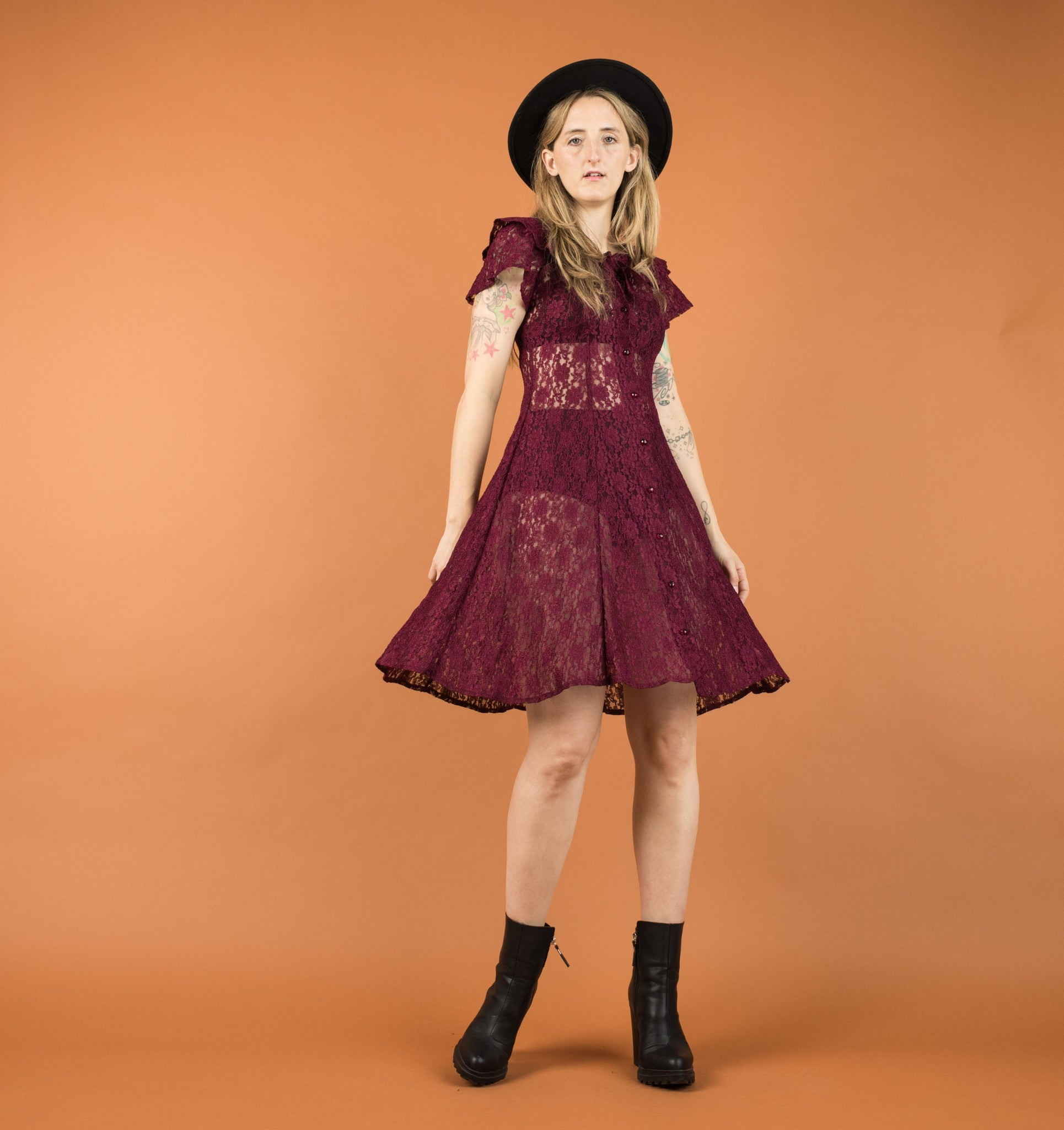 Vintage Berry Lace Skater Dress / XS/S - Closed Caption