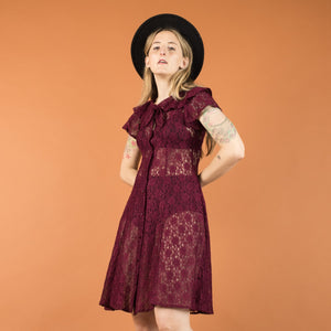 Vintage Berry Lace Skater Dress / XS