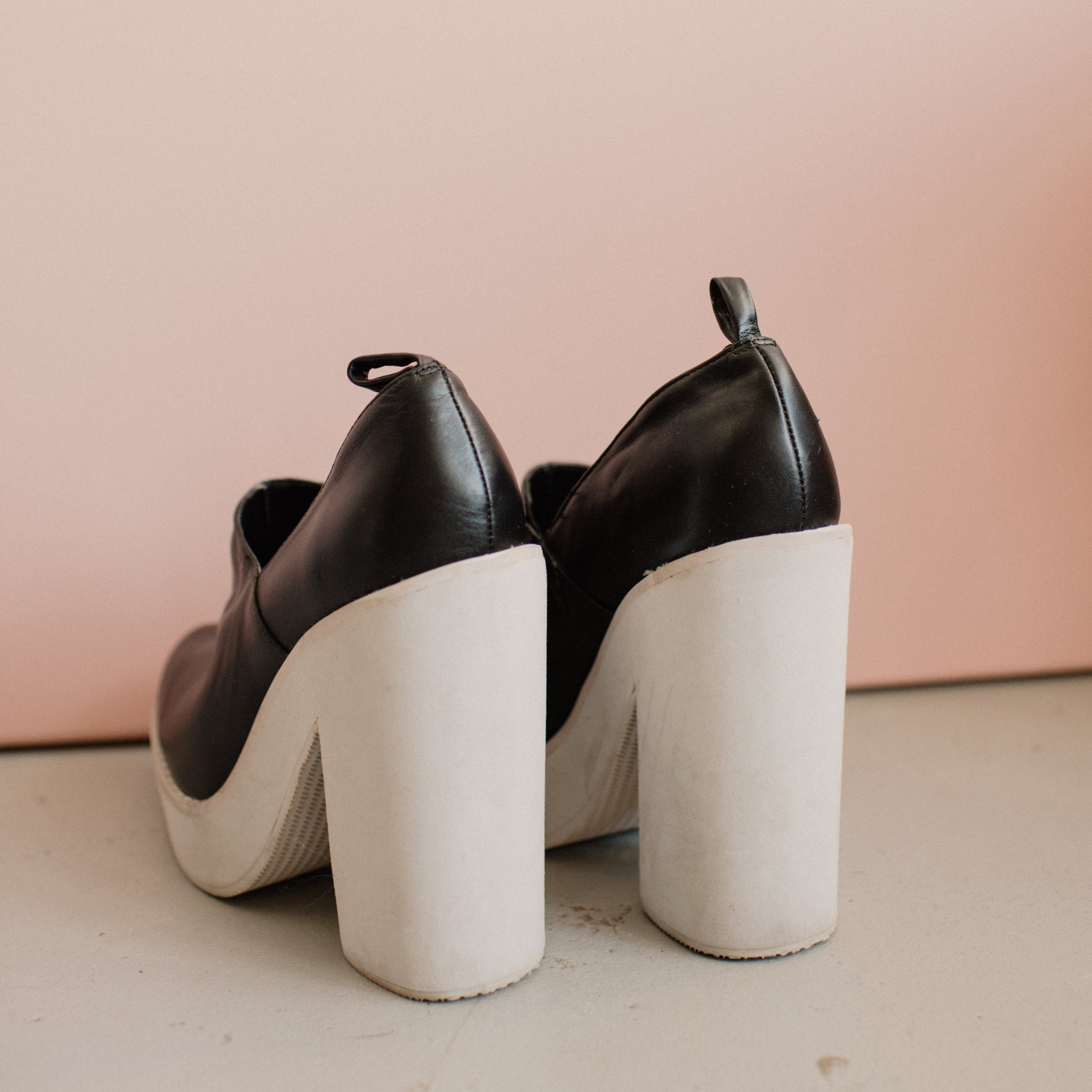 Vintage Black + White Platform Booties / 9 - Closed Caption