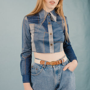 Vintage 70s Cropped Patchwork Blouse / S