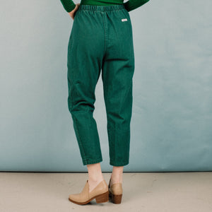 Vintage Grass Green Elastic Waist Denim Pants / S/M