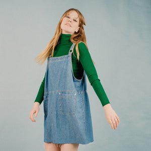 Vintage Light Wash Denim Overall Dress / S