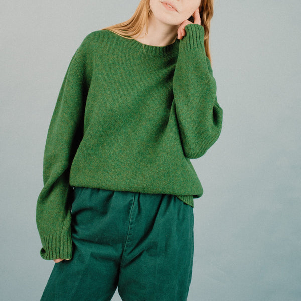 Vintage Grass Green Oversized Wool Sweater / S/M