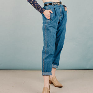 Vintage Pleated High Rise Denim Pants / 30""