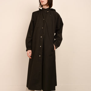 Vintage Black Utilitarian Raincoat Coat / S