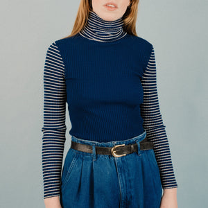 Vintage 70s Midnight Blue Striped Leotard / S