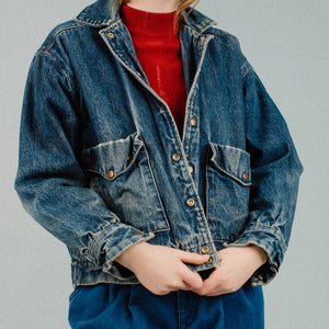Vintage Heavy Dark Blue Denim Jacket / S/M - Closed Caption