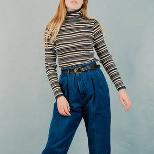 Vintage Striped Ribbed Turtleneck / S/M - Closed Caption