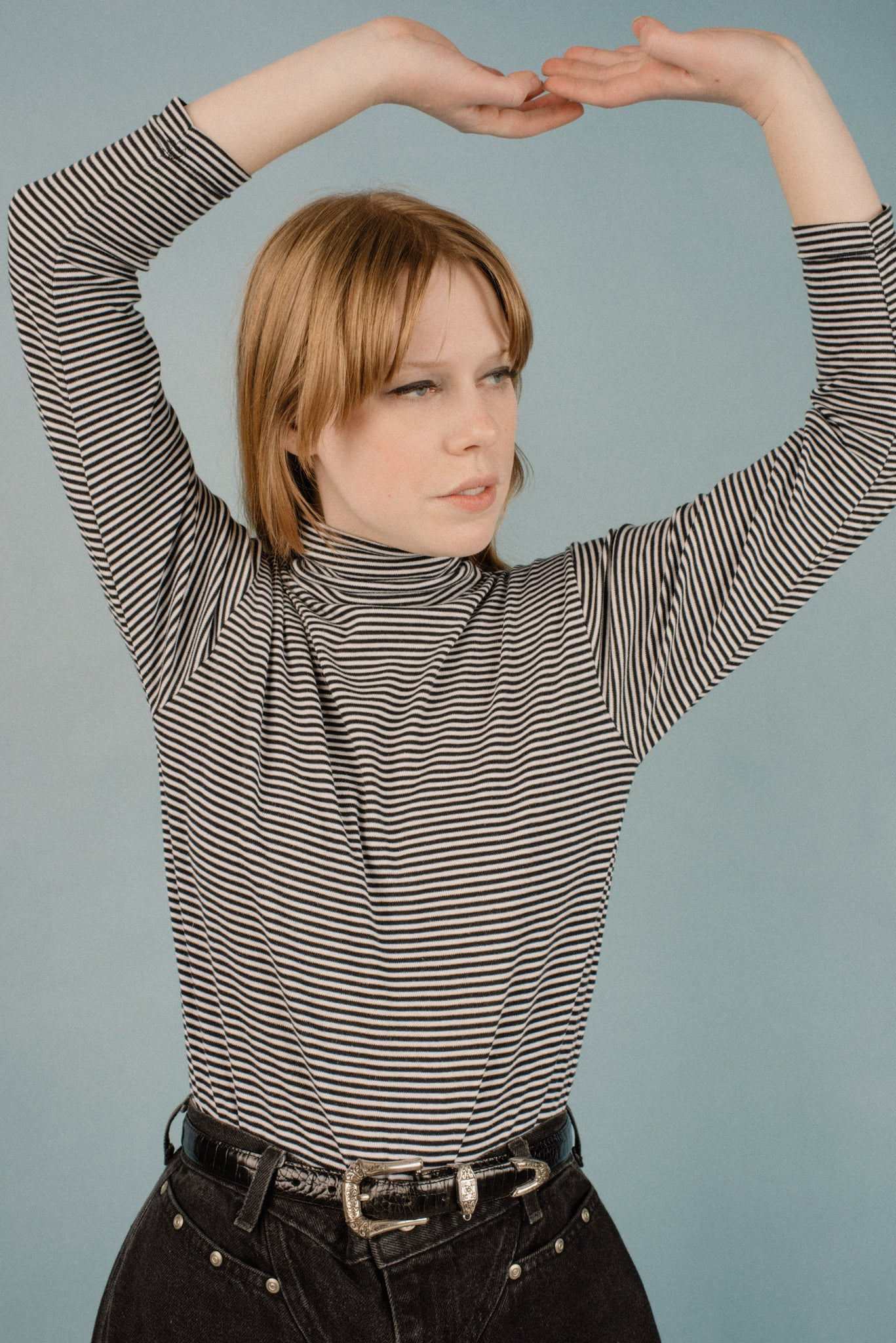 Vintage Black + White Striped Turtleneck / S/M - Closed Caption