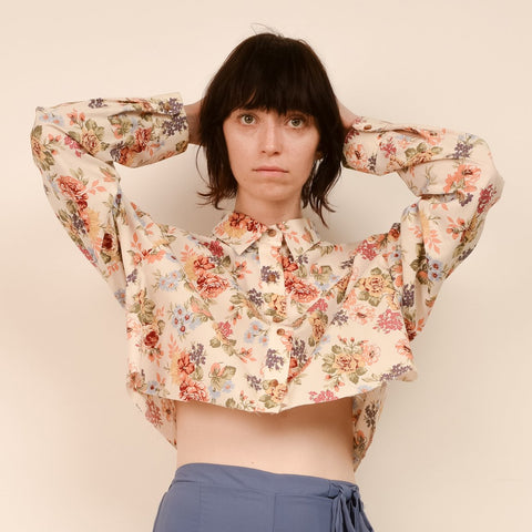Vintage Oversized Cropped Floral Blouse / S/M