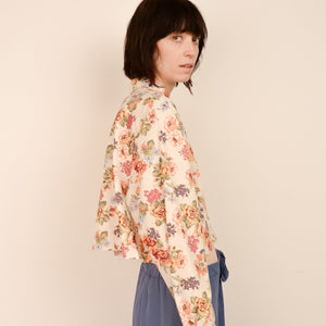 Vintage Oversized Cropped Floral Blouse / S/M - Closed Caption