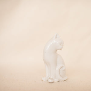 Vintage Delicate White Porcelain Cat - Closed Caption