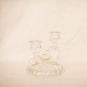 Vintage Glass Decorative Double Candle Holder - Closed Caption