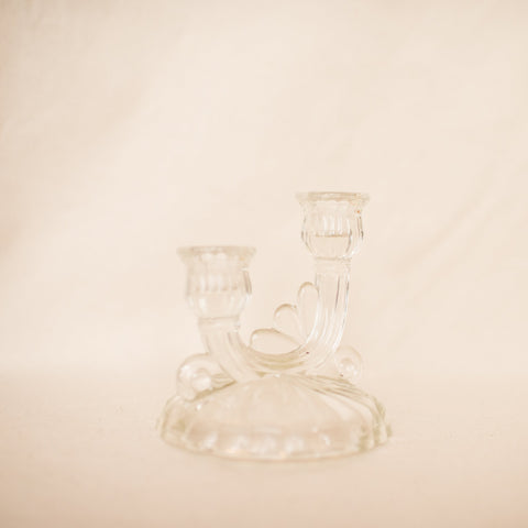 Vintage Glass Decorative Double Candle Holder