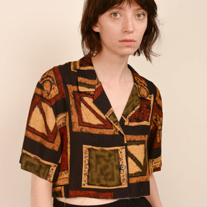 Vintage Earth Tone Abstract Cropped Blouse / S - Closed Caption