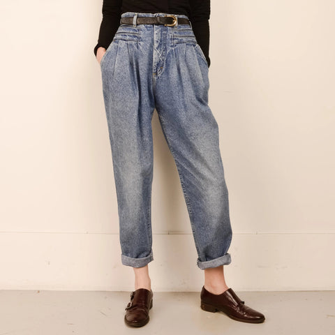 Vintage RARE Pleated Medium Wash LEE Denim Pants  / S/M