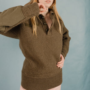Vintage Army Green Chunky Knit Sweater / S - Closed Caption