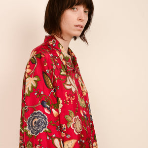 Vintage Silk Oversized Paisley Floral Blouse / S - Closed Caption
