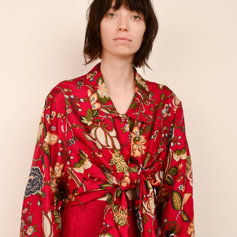 Vintage Silk Oversized Paisley Floral Blouse / S