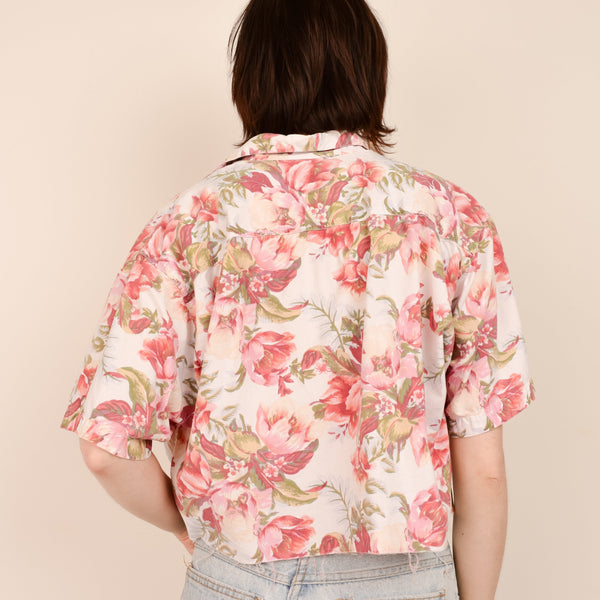 Vintage Pink Floral Oversized Cropped Blouse / S