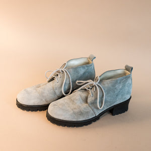 Vintage Powder Blue Suede Booties / 8.5