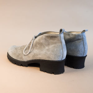 Vintage Powder Blue Suede Booties / 8.5 - Closed Caption