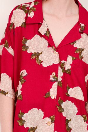 Vintage Cherry Oversized Floral Blouse / S/M - Closed Caption