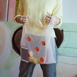 Luxurious Organza Strawberries Embroidered Tote