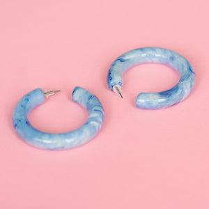 Blue Marble Chunky Hoop Earrings