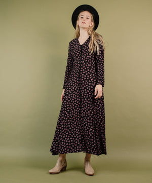 Vintage 90s Floral Maxi Crinkle Dress / S - Closed Caption