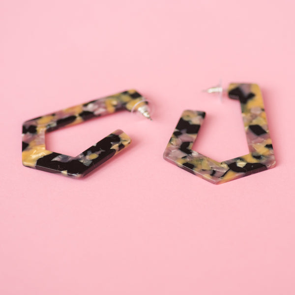 Blush Tortoise Geometric Hoop Earrings
