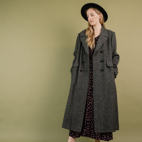 Vintage Grey Herringbone Oversized Wool Coat / S/M