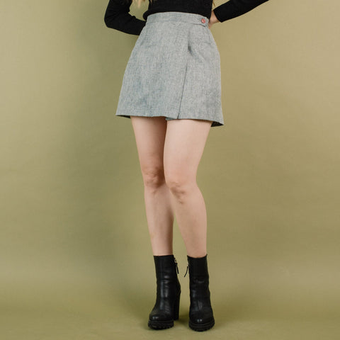 Vintage Grey Tweed Wrap Skirt / S