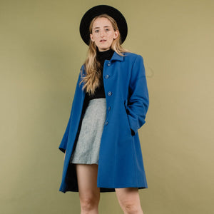 Vintage Prime Blue Short Wool Coat / S