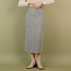 Vintage Grey Tweet Pencil Skirt / S