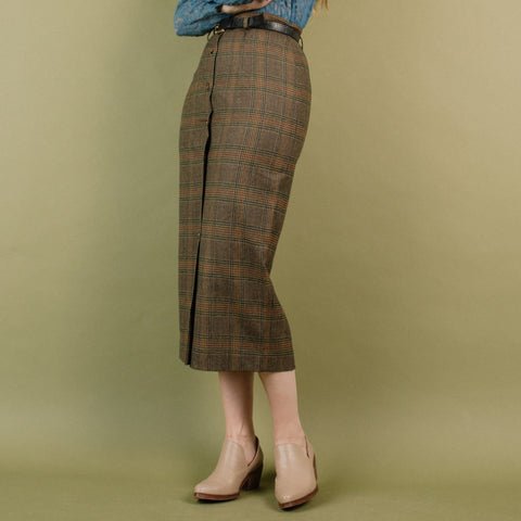 Vintage Caramel Plaid Tweed Skirt / S