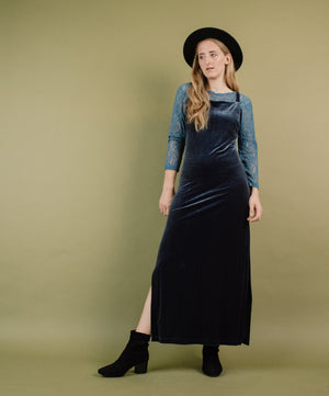 Vintage Buttery Soft Grey Velvet Maxi Dress / S - Closed Caption